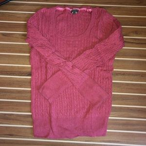 Eddie Bauer red cable knit sweater